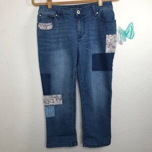 Baccini Size 6P Cropped patched jeans